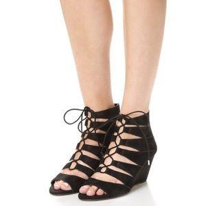 Sam Edelman Santina Suede Black Lace Up Wedge Heel